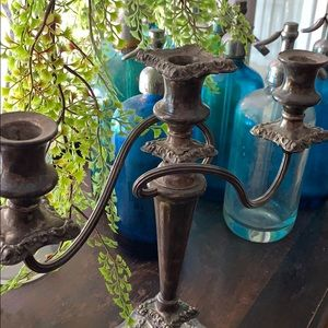 Vintage Accents - Vintage SIGNED Heavy silver candelabra candle tree